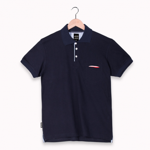 POLO WITH HIDDEN POCKET - NAVY BLUE